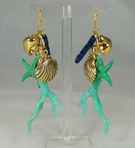 """Orecchini """"Jingling Bunches - mare"""" - 103) Turchese/Verde Smeraldo/Blu Navy"""