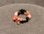 Bracciale spirale basso -  65) Corallo Rosa/Nero