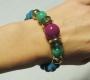 Braccialetto rigido fantasia -  85) Verde Smeraldo/Prugna/Azzurro Mare