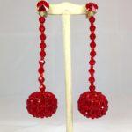 Orecchini con boulle ricoperta in Cristallo -  C/11) Rodonite (rosso vivo)