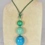 Ciondolo tre sfere -  22/25) Verde Smeraldo/Azzurro Mare