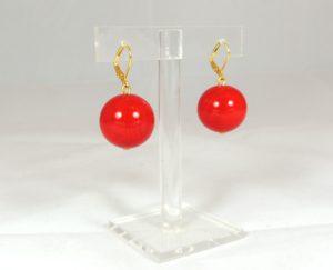 Orecchini sfera liscia - rosso