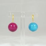 Orecchini sfera liscia - 13/25) Prugna/Azzurro Mare