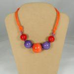 Girocollo 5 sfere -  60) Arancione/Rosso/Viola