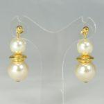 Orecchini doppia sfera Perla con Oro - P/02) Perla Creme
