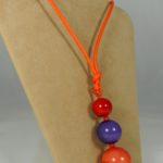 Ciondolo 3 sfere -  60) Arancione/Rosso/Viola