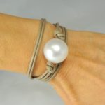 Bracciale maxi sfera perla - 04/P1) Beige/Perla Bianca