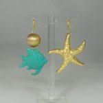 Orecchini Pesce e Stella Marina (Turchese/Oro)