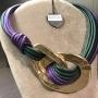 Girocollo doppi anelli martellati  59) Verde/Viola