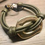 Bracciale con anello martellato  23) Verde militare