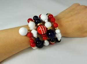 bracciale spirale alto bianco-rosso-blu