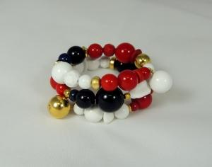 Bracciale spirale basso - 70) Bianco/Rosso/Blu Navy