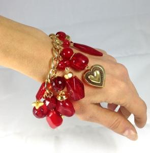 bracciale  di catena con ciondoli rossi e oro