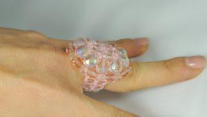 Anello Ovale Cristallo - Rosa