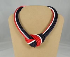Collier nodo - bianco/rosso/blu