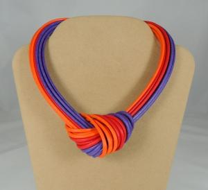 Collier nodo - arancio/rosso/viola