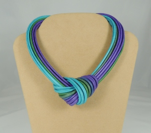 Collier nodo - turchese/smeraldo/viola/azzurro
