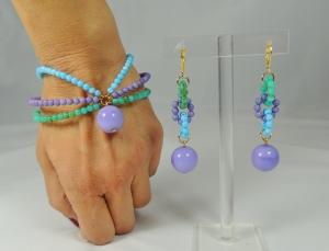 Parure azzurro-lilla-turchese